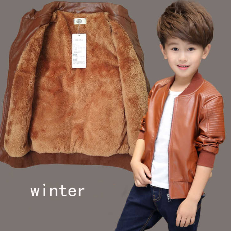 cb96d67d0 Baby boys leather jacket kids girls and coats spring kids leather ...