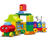 50pcs Large Particles Numbers Train Building Blocks Sets Children Education Bricks City Toys Compatible With Duploe