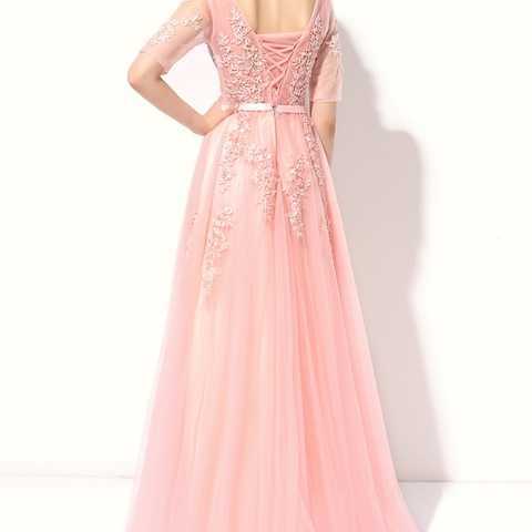 SSYFashion Lace Evening Dress The Bride Banquet Sexy V-neck Half Sleeves Embroidery Long Party Prom Dress Robe De Soiree Custom Islamabad