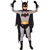 Kids Batman Costume Deluxe Classic Batman Full Body Tight Suit With Cape Masked Superhero Halloween Costume