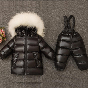 Children Winter Warm Thicken Suit Baby Boys Girls Fashion Big Fur Hoodie Clothing Coat + Pants Down Jacket Kids Outwear Snowsuit