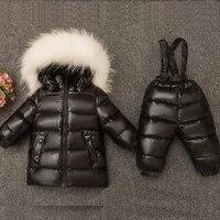 Children Winter Warm Thicken Suit Baby Boys Girls Fashion Big Fur Hoodie Clothing Coat + Pants Down Jacket Kids Outwear Snowsuit