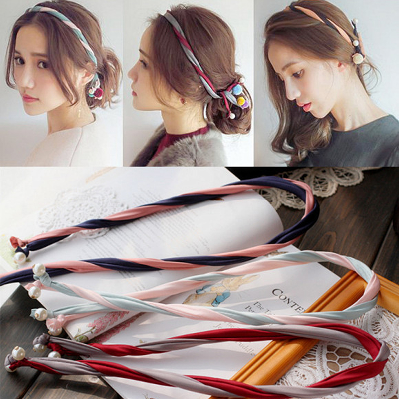 2017 Nya Pärlor Fashion Headband Koreanska Bandanas Hair Clip Headwear Smycken För Kvinnor Flickor Eleganta Barrettes Hair Accessories