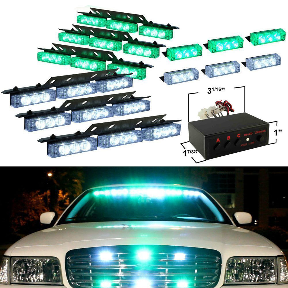 Super Bright Car Vehicle 12V 72 LED Green and White Emergency Warning Light Bar Dash Strobe Flashing Lamp anti acne pigment removal photon led light therapy facial beauty salon skin care treatment massager machine