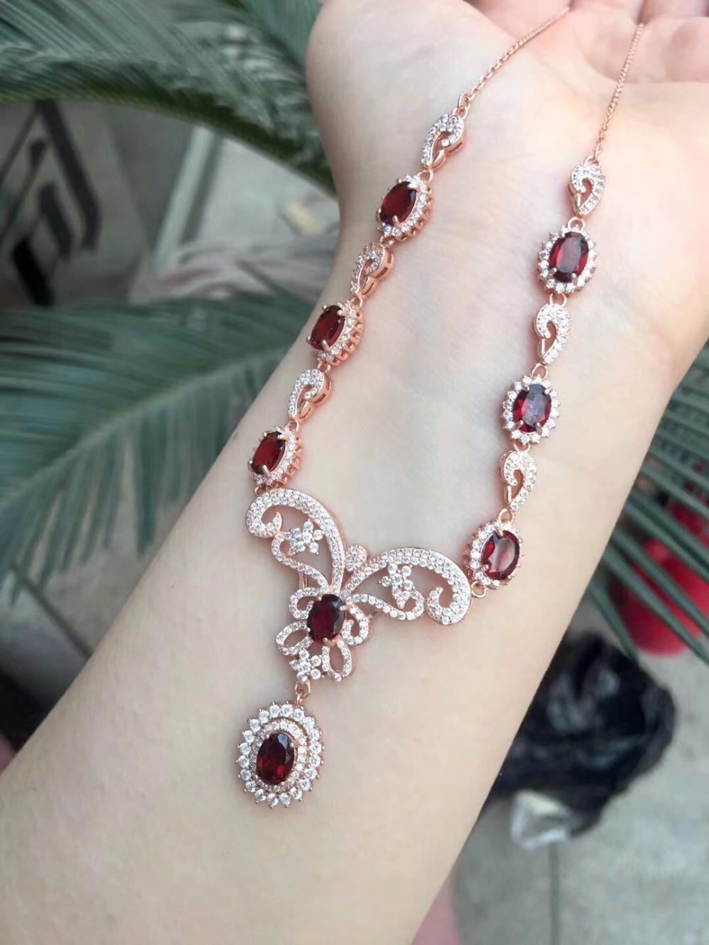 Uloveido Red Garnet Wedding Pendant Necklace Women 925 Sterling Silver Gemstone Luxurious Necklace Pendant for Girl