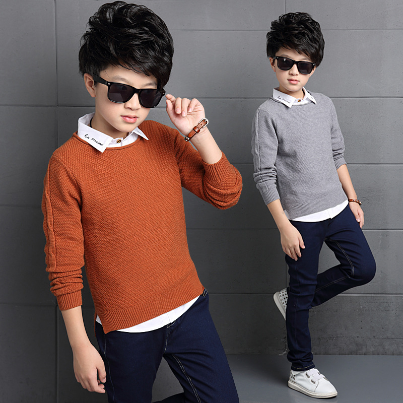 England Style Fashion Brand Sweater Kids Pullover Wool Knitted V-neck Long-sleeve Autumn School Boys Sweater Kids Wool Sweaters