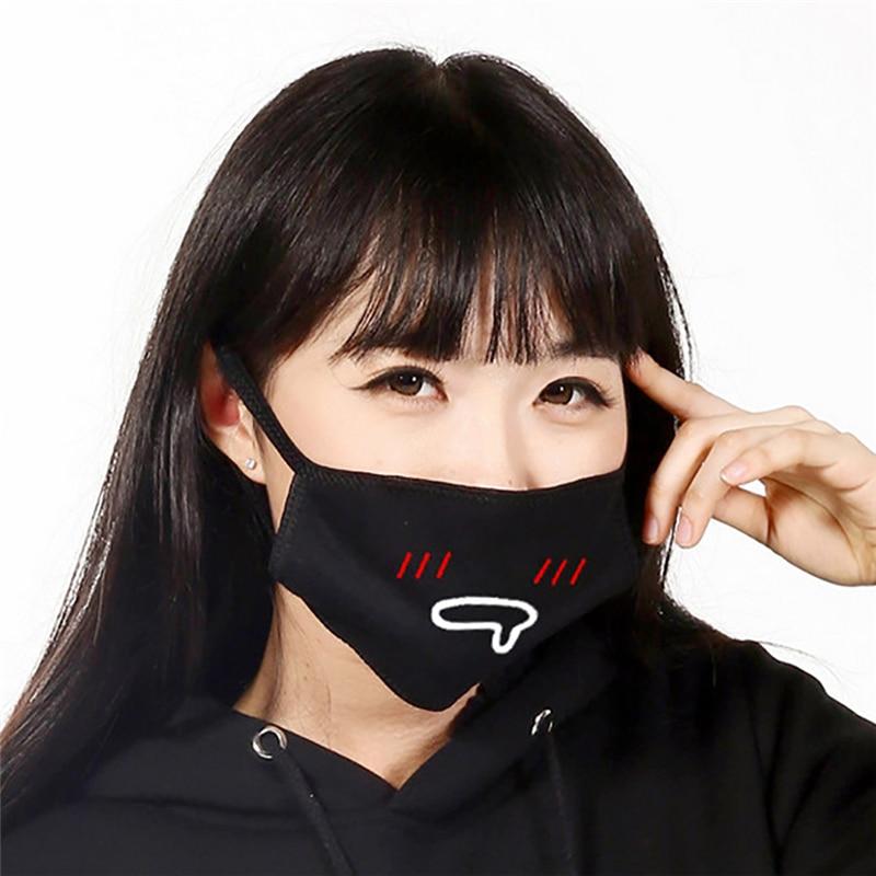 Unisex Black Mask  Boys Girls Cute Winter Mouth Face Mask  Facial Expression Cotton Facial Mask Z4