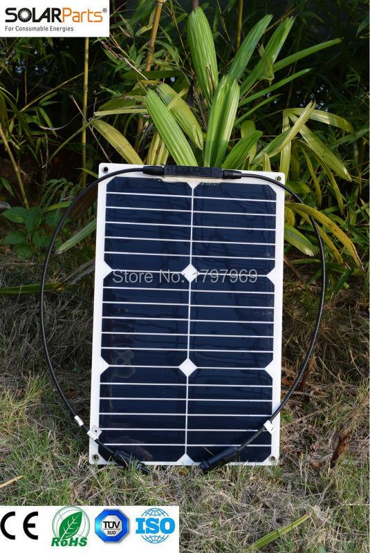Prix pour Solarparts 2 PCS 18 W flexible panneau solaire module 125*125mm cellule solaire système solaire 12 V charge batterie bateau yacht sun power