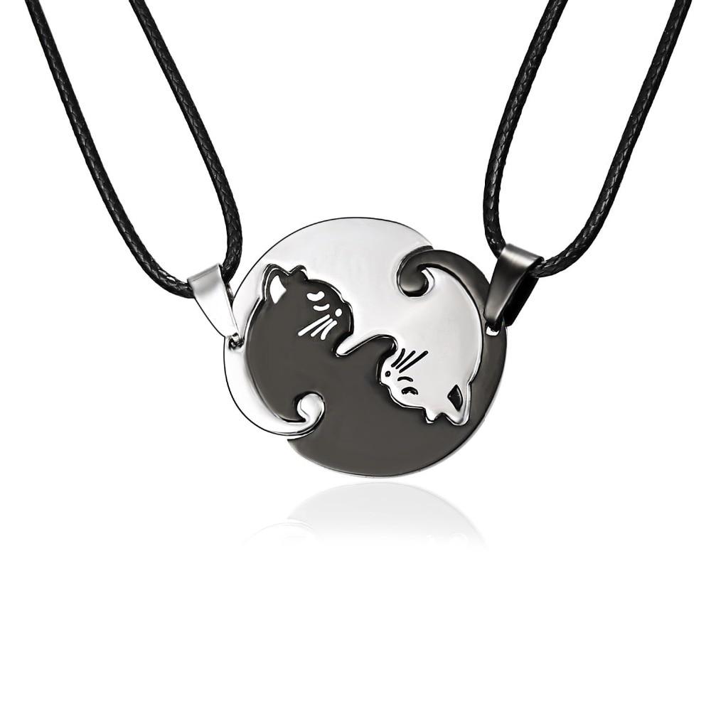 Rinhoo Couples Jewelry Necklaces Black white Couple Necklace Titanium Steel animal cat Pendants