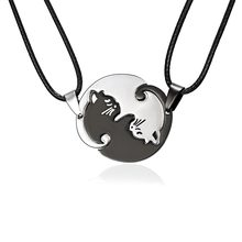 Rinhoo Couples Jewelry Necklaces Black white Couple Necklace Titanium Steel animal cat Pendants Necklace(China)