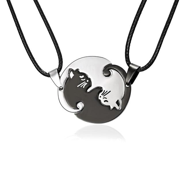 7b72b91b97 Rinhoo Couples Jewelry Necklaces Black white Couple Necklace Titanium Steel  animal cat Pendants Necklace