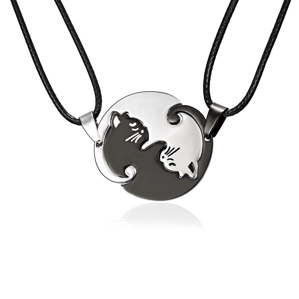 Rinhoo Couples Jewelry Necklaces Black white Couple Necklace Titanium Steel animal cat Pendants Necklace