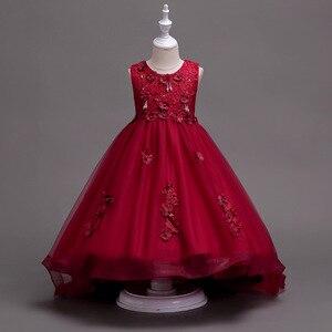 Image 2 - Różowa dziewczyna druhna ślubna romantyczna sukienka elegancka dziewczyna element ubioru, aby wziąć udział w piłce święty posiłek ogon aplikacja