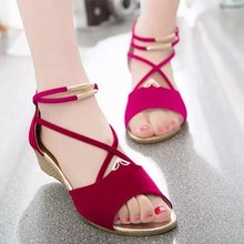 Metal Buckle Bohemia Women Sandals Wedges Summer Cut Out Cross Strap Dames Schoenen Zipper Ladies Woman's Shoes Gladiator Mujer