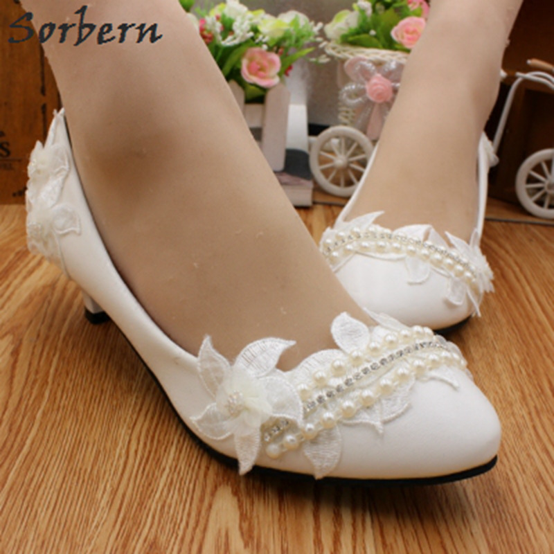 Sorbern Elegant White Ladies Shoes Flowers Crystal Low Heels Pumps Women Wedding Shoes Beading Slip On 3/5/8Cm Pump Kitten Heels sorbern white beading ankle strap cute flowers wedding shoes med heels bridal shoes wholesale women shoes party and evening shoe