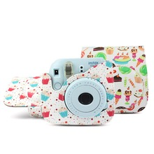 Cupcake Dessert Series Vintage PU Leather For Fujifilm Instax Mini 8 8+ 9 Camera Case Bag With a Removable Bag Strap