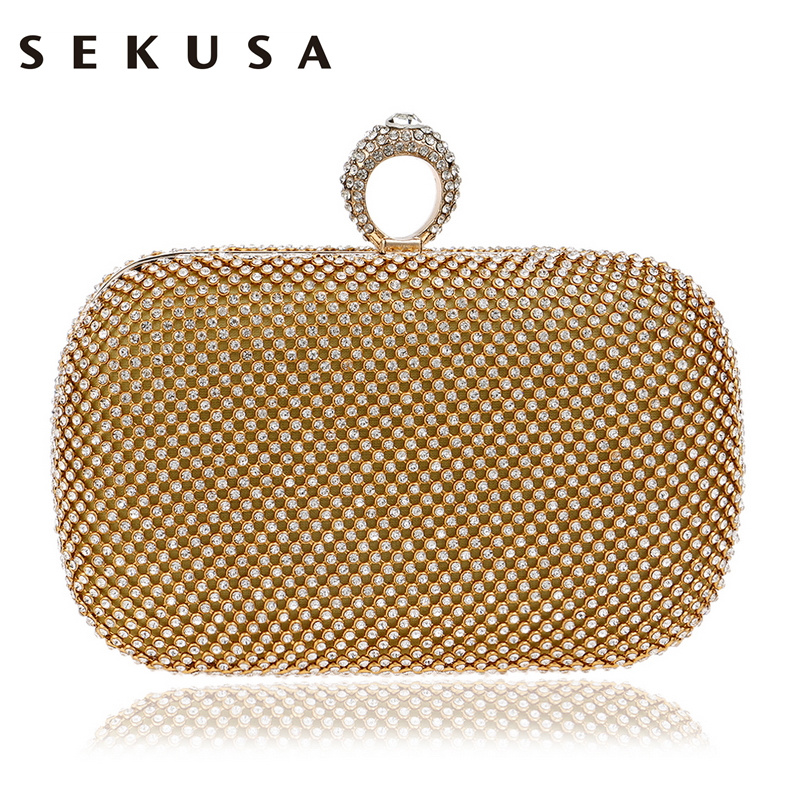 SEKUSA Diamond Rhinestone Evening Clutch Bag Handmade Finger Ring Handbag Purse Evening Wedding Party Bag Silver Black Gold luxury crystal clutch handbag women evening bag wedding party purses banquet