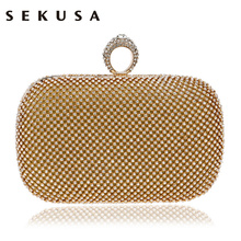 SEKUSA Diamond Rhinestone Evening Clutch Bag Handmade Finger Ring Handbag Purse Evening Wedding Party Bag Silver Black Gold