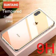 Funda de cristal de lujo Suntaiho para iPhone XS MAX XR fundas de cristal transparente Ultra fino para iPhone X XS 7 8 Plus borde suave(China)