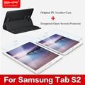Original case para samsung galaxy tab s2 case de cuero para samsung t810/t815c + protector de pantalla de cristal templado para tab s2 9.7''