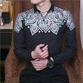 Men's Floral Shirt Slim Fashion Casual Shirt Plus Size M~3XL Business Brand Male Spring Long-sleeved Printed Shirt
