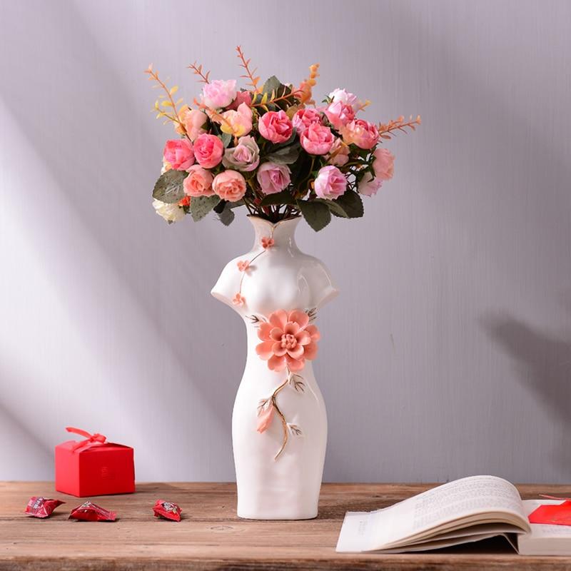 Классический китайский стиль Cheongsam стиль ваза творческих людей моделирования фигуры керамическая ваза изысканный товары для дома