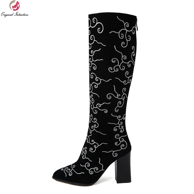 Original Intention Women Knee High Boots Beautiful Pointed Toe Square Heels Boots Nice Black Shoes Woman US Size 4-10.5 high quality women ankle boots nice pointed toe square heels beautiful black red leopard shoes woman us size 3 5 10 5