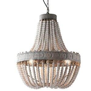 Image 1 - מדינה אמריקנית סגנון רטרו תליית סיד לבן עץ חרוזים תליון מנורת LED אורות E27 AC 110V 220V עבור חדר שינה סלון