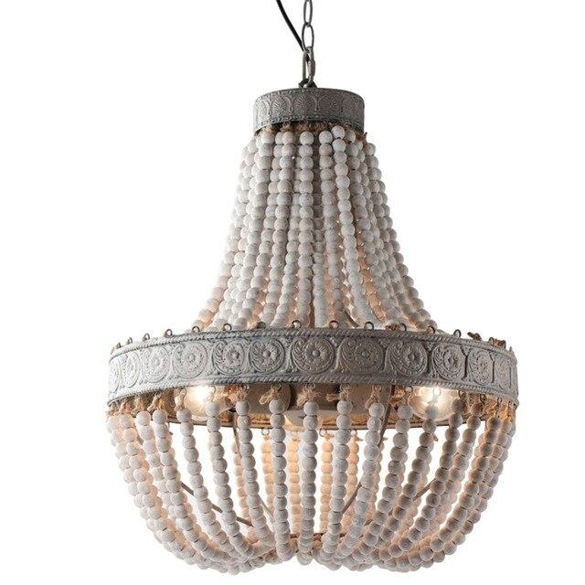 מדינה אמריקנית סגנון רטרו תליית סיד לבן עץ חרוזים תליון מנורת LED אורות E27 AC 110V 220V עבור חדר שינה סלון