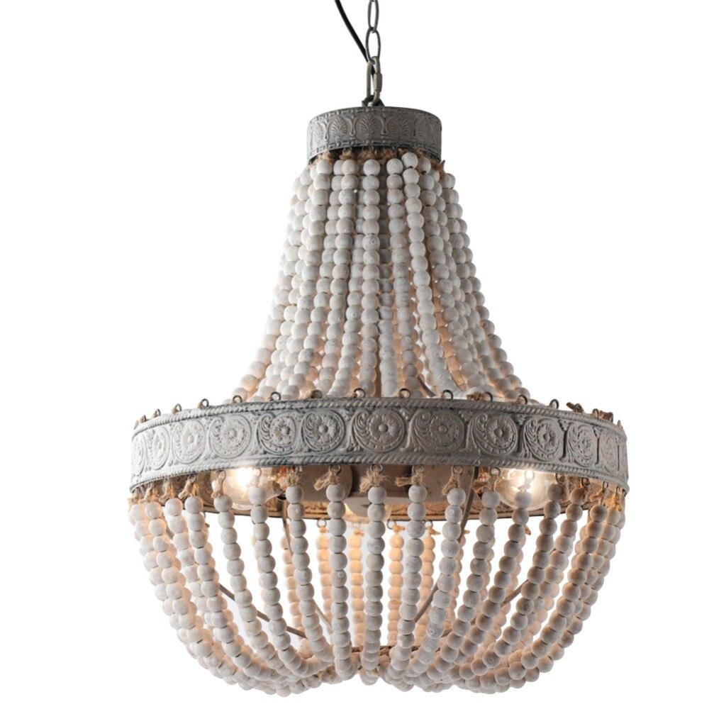Estilo country americano retro pendurado cal branco contas de madeira pingente lâmpada led luzes e27 ac 110 v 220 v para o quarto sala estar