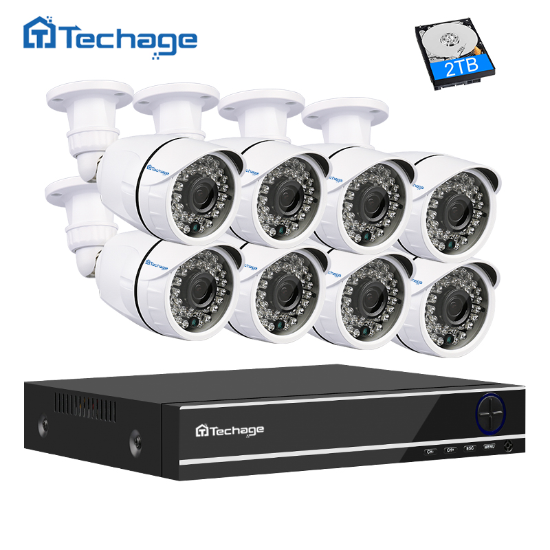 Techage 8CH CCTV System 1080P HDMI AHD DVR NVR 8PCS 2.0MP IR Security Camera Outdoor IP66 Waterproof AHD-H Surveillance DIY Kit 4ch cctv system 1080p hdmi ahd 4ch cctv dvr 4pcs 1 3 mp ir outdoor security camera 960p waterproof camera surveillance system