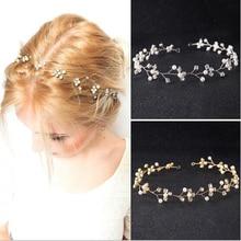 Hot Crystal Pearl Beads Hair Accessories Vine Wedding Headband tiaras and crowns Head Piece hair decoration