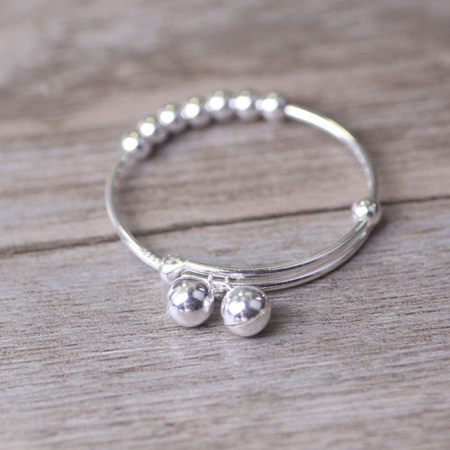 S990 Sterling Silver Small Bell Baby Adjule Bracelet Bangle For Boys S Gift Statement Jewelry