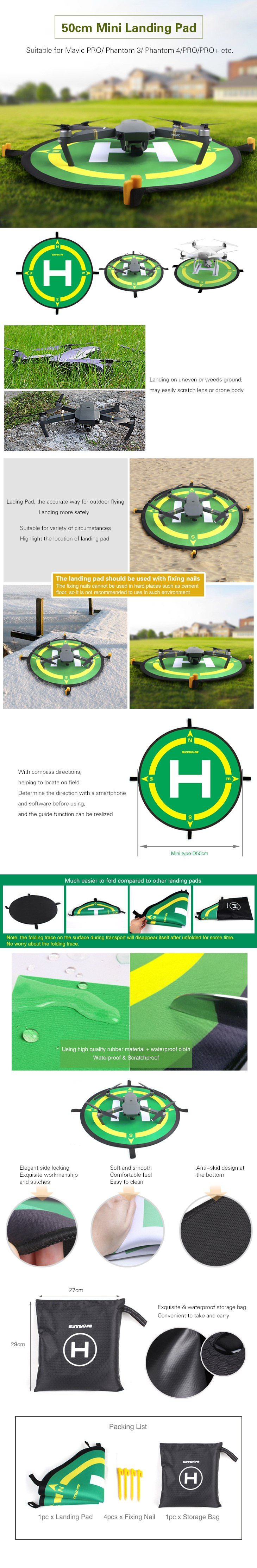 Sunnylife Foldable Drone Parking Landing Field Landing Pad with Compass Directions for DJI Phantom 4 3 SPARK Mavic Pro