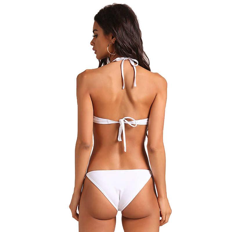 جديد مثير حلقة معدنية بيكيني النساء ملابس السباحة الجوف الاستحمام دعوى بلون ملابس السباحة S-L عارية الذراعين الرسن 2 قطعة طقم بيكيني صغير