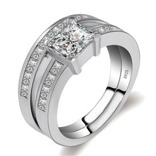 ZOSHI Solide 925 Sterling Silber 2-Pcs Hochzeit Engagement Ring Set 1 Ct Princess Cut Schmuck Mode Braut Ringe(China)