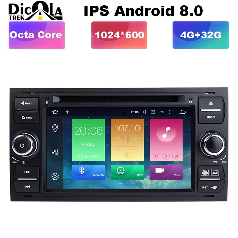 7 pouces Octa Core Android 8.0 4G RAM 2 din lecteur DVD de voiture pour Ford Mondeo s-max Focus C-MAX Galaxy Fiesta forme Fusion Radio stéréo