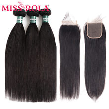 Miss Rola Hair Non-Remy Straight Malaysia Hair Weave Bundles 100% Human Hair 3 Bundles With 4*4 Closure Natural Color 8-26 Inch(China)