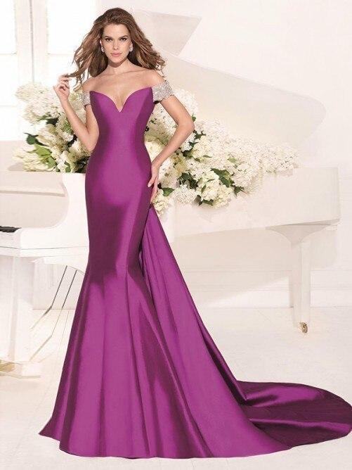 Baratos Vestidos de noche 2017 Largo Púrpura De Lujo Vestido de La ...