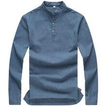 Linen & Cotton Healthy Material Casual Men Breathable Shirt Long Sleeve
