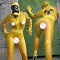 Latex catsuit de borracha do sexo masculino bodysuit transparente cor amarela SEXY VIDA homem do exército uniformes RPG cosplay mulher soldado química
