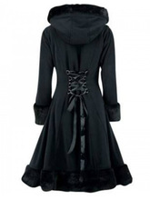Women Winter Trench Coat Gothic Medieval Vintage Long Winter Hooded Coat Party Fashion Button Patchwork Long Sleeve Coat