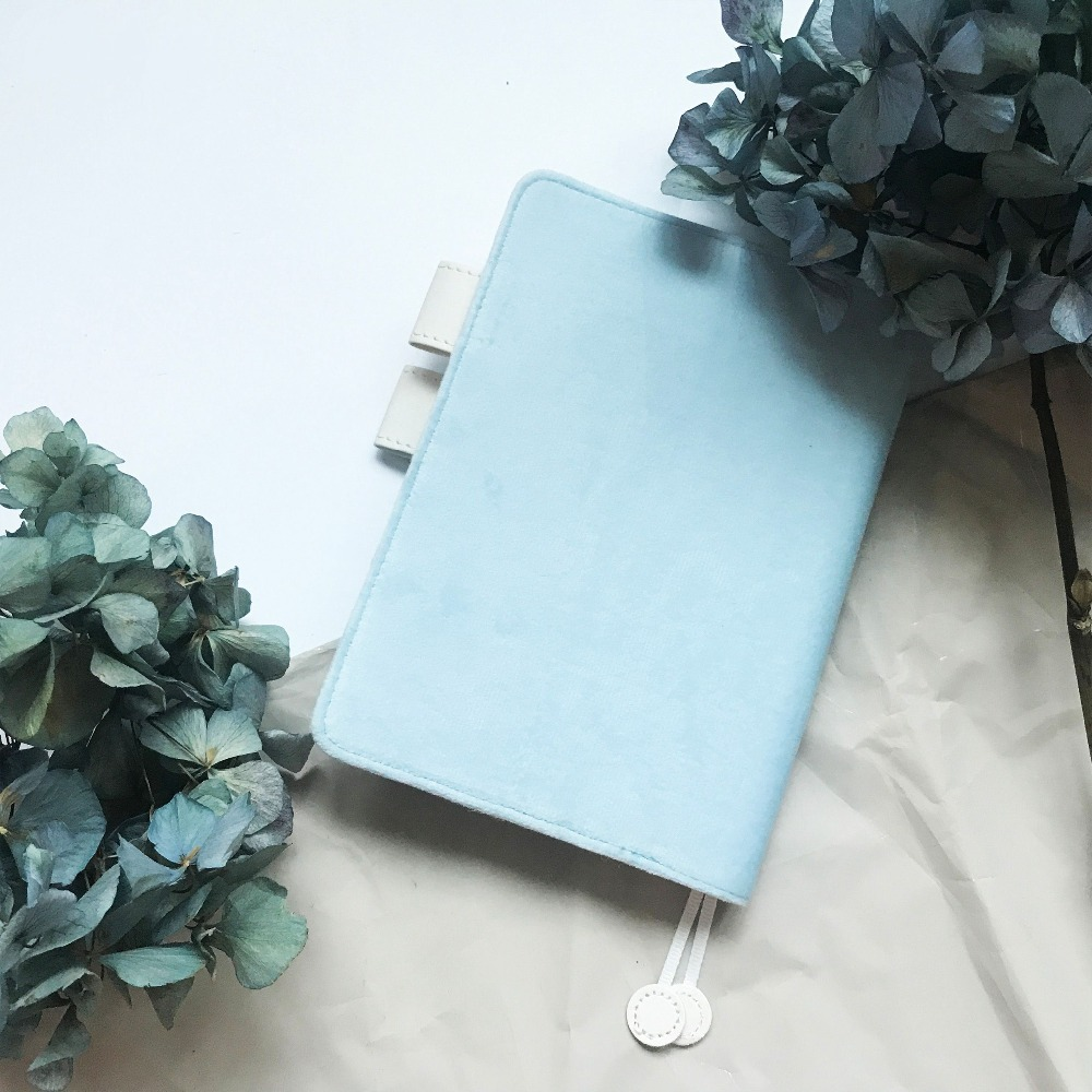 The Bright Light Blue Fitted Journal Cover A5 A6 Hobonichi Style Diary Cloth Cover Suit For Standard Fitted A5/A6 Paper Book scalloped fitted
