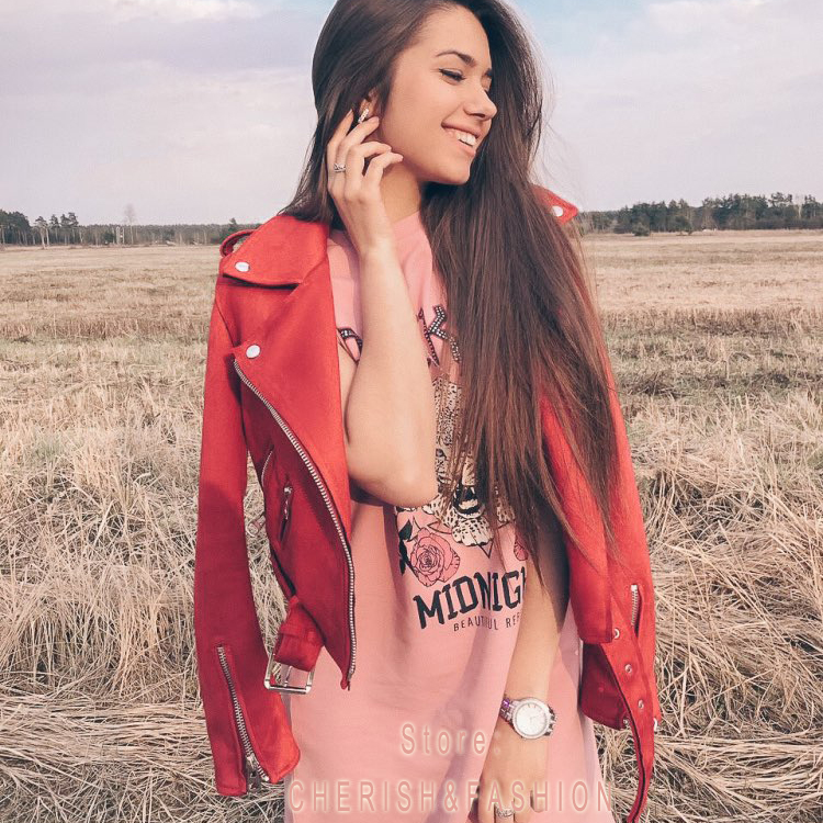 2018 New Autumn Witner Women Motorcycle Faux PU Leather Red Pink Jackets Lady Biker Outerwear Coat with Belt Hot Sale 7 Color
