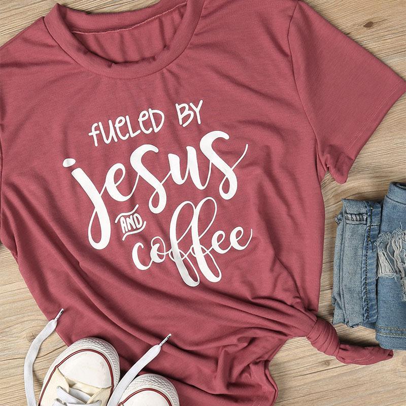 2018 frauen Sommer Grundlegende Rot T Durch Jesus Und Kaffee Gedruckt Kurzarm T-shirt Lässig O-ansatz T-shirts Mädchen Brief Heizt Top