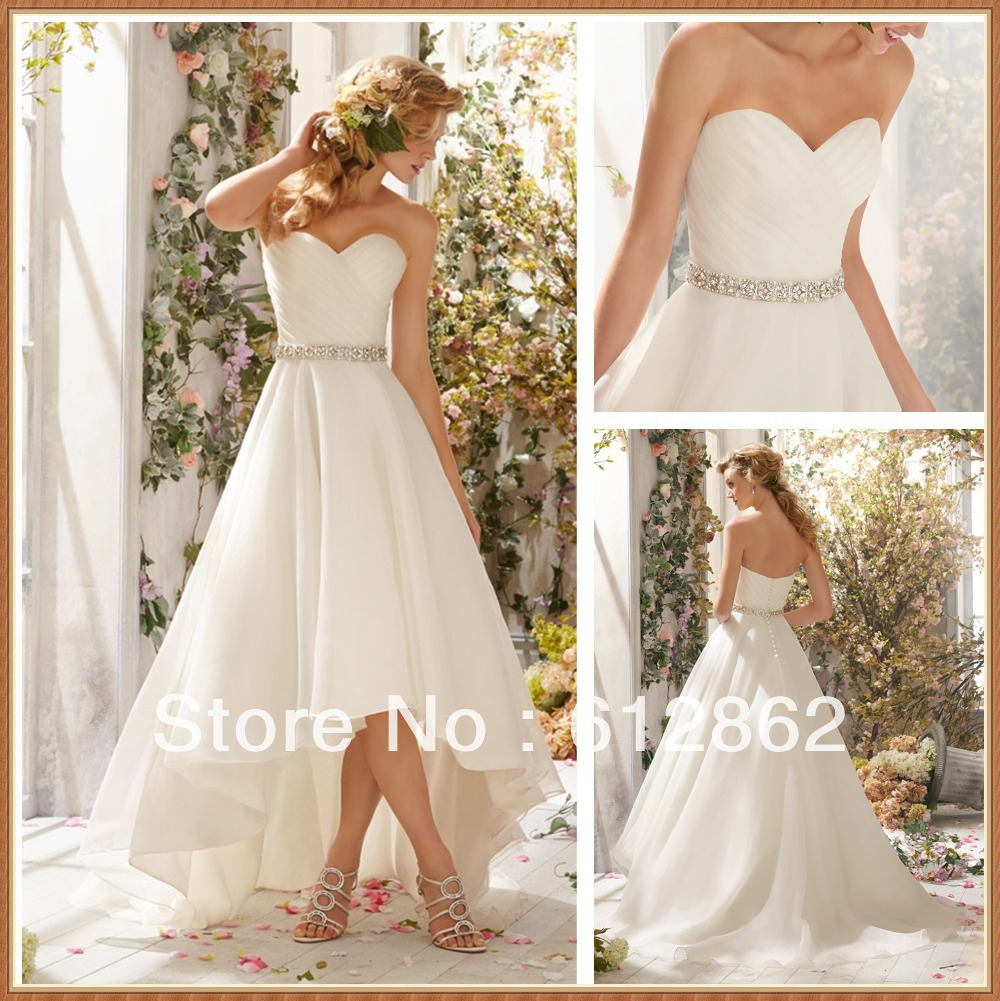 Simple Low Key Wedding Dresses: Simple But Elegant Strapless Sweetheart Organza High Low