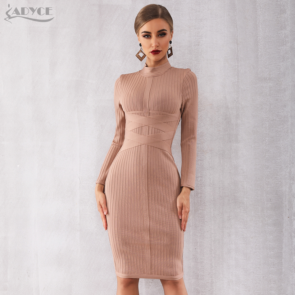 Adyce 2019 nouveau hiver moulante Bandage robe femmes Sexy nue à manches longues Midi Club robe Vestidos célébrité robes de soirée