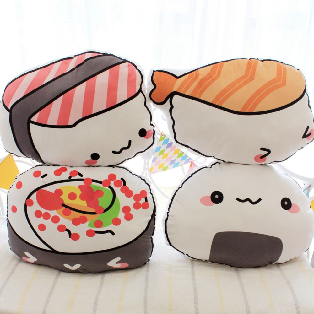 1pc 45cm*40cm Kawaii Salmon Sushi Pillow Stuffed Plush rice and vegetable roll Pillow Cushion Toys Creative Gifts Kids Gifts image