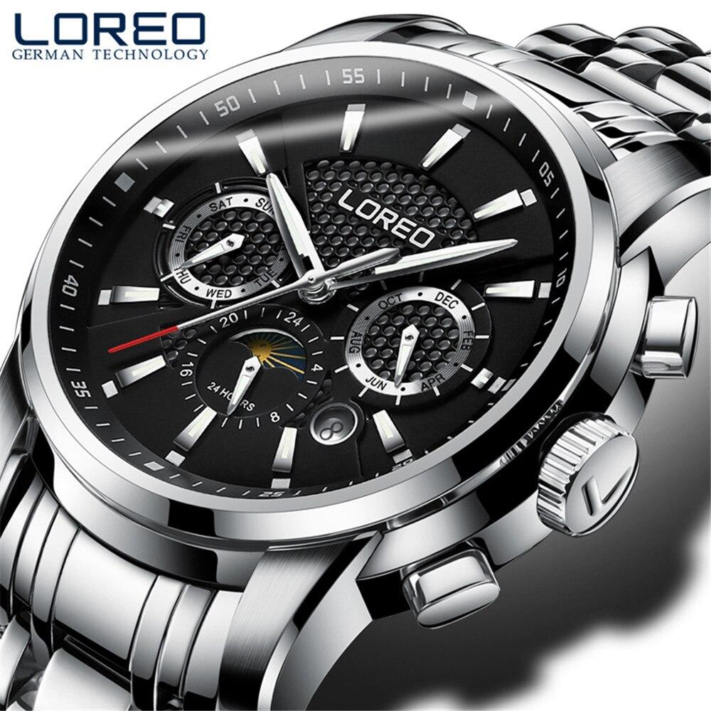 Reloj mecánico automático multifunción para hombre, reloj de negocios de marca superior, reloj deportivo, caja de acero inoxidable-in Relojes mecánicos from Relojes de pulsera    2