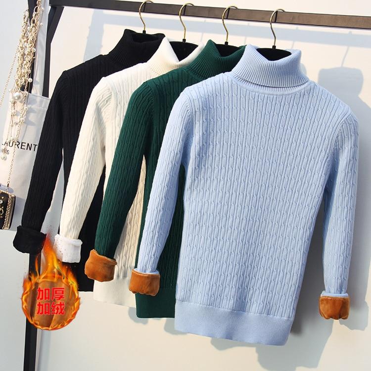 Winter Thick Golen Velvet Warm Turtleneck Knitted Pullover For Women Long Sleeve Female Sweater Clothing Slim Fit Plus Size